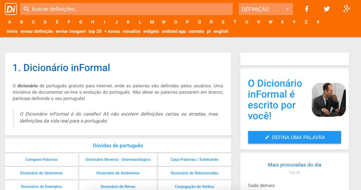 diccionario coloquial en Portugués