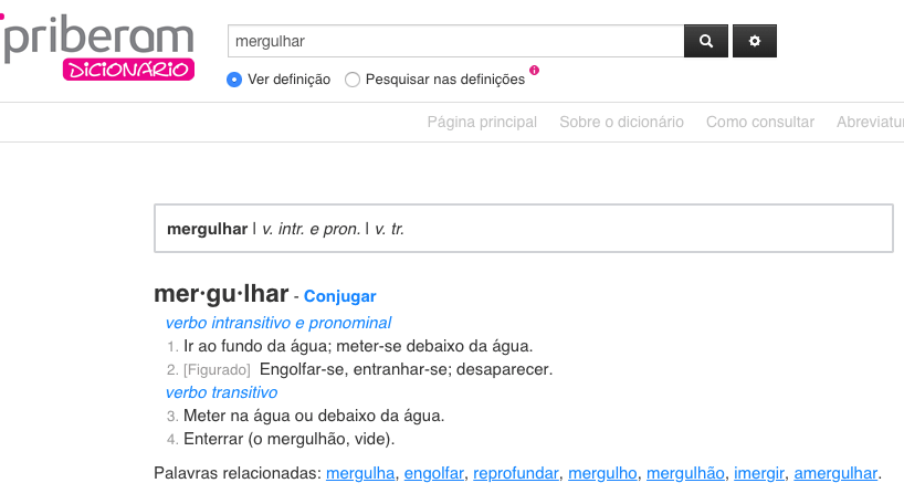 diccionario en portugués