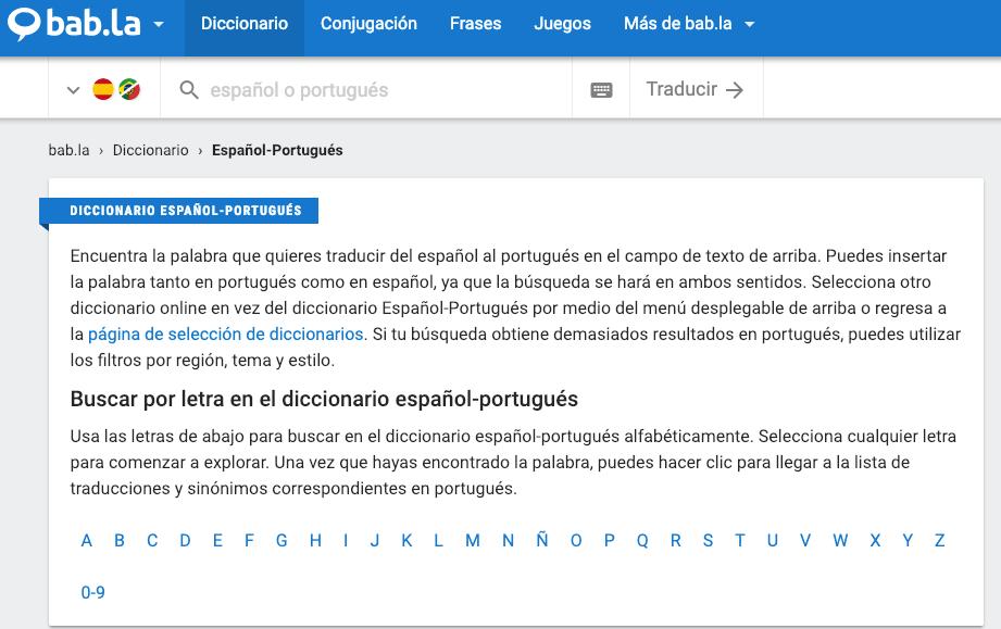 Bab.la Traductor Español Portugués