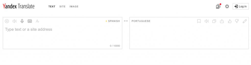 traductor español portugués Yandex