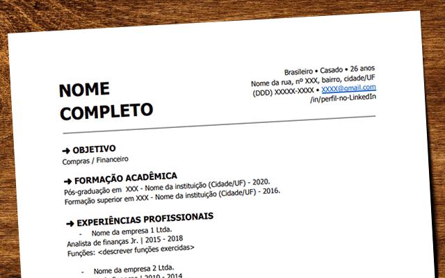 formato hoja de vida brasil
